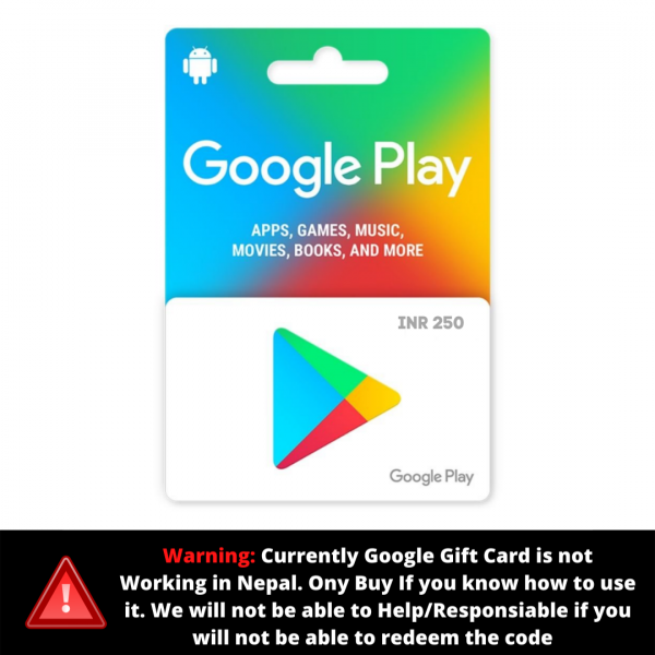 Google Play Gift Card 250 (INR) – Instant Email Delivery