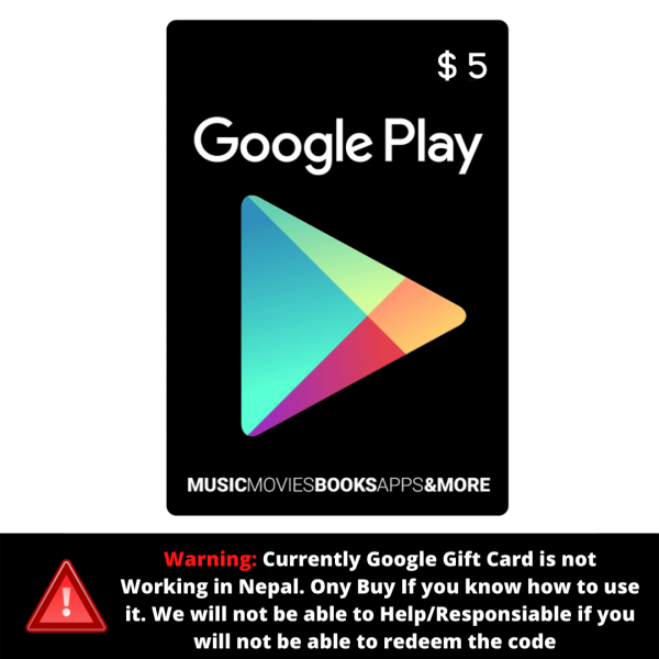 Google Play Gift Card 5 $ (USD) – Instant Email Delivery